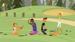 S1 E1 Broseph's golf ball just misses Emma, Johnny, Reef and Fin