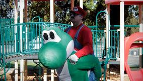 Stupid Mario Brothers Nintendo Style Mario on Yoshi's Back