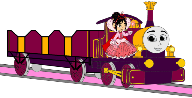 File:Lady with her Open-Topped Carriage & Vanellope beside her.png