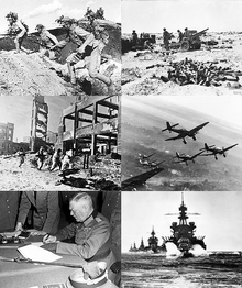 Top left- Battle of Wanjialing Top right- First Battle of El Alamein Middle left- Battle of Stalingrad Middle right- German dive bombers over Eastern Front winter 1943-1944 Bottom left- Wilhelm Keitel