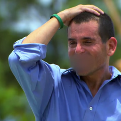 David frustrated at losing the first challenge.
