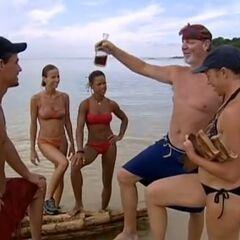 Tom Christens the raft