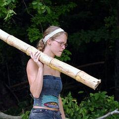 Michelle helps to build the shelter.