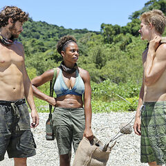 Spencer, Jeremiah and Tasha talk at camp.