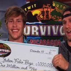 Fabio (left) with his check, and Chase Rice (right), who was Runner-Up, beside him.