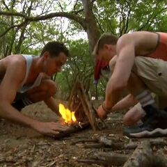 Reed and Josh making fire on Day Zero.