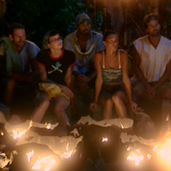 Angie with the rest of her tribe, at her last Tribal Council.