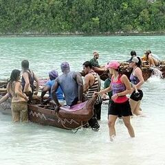 The tribes rowing to their beaches.