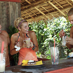 Andrea enjoys reward with her Gota tribemates, Day 17.