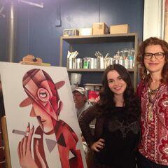 Bay in her college art class with her Art professor Tereas Lubaraky