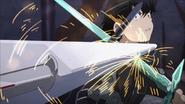 Kirito blocking Heathcliff's attack