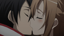Kirito kissing Asuna BD