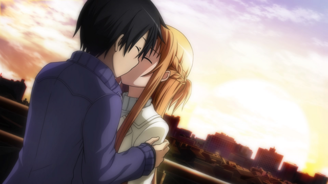 File:Asuna and Kazuto kissing at sunset in real world.png