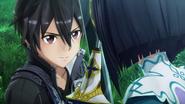 Kirito struggling against Tia