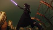 Kirito deflecting Sinon's bullet
