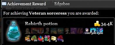 Veteran sorceress achievement reward is a rebirth potion recipe
