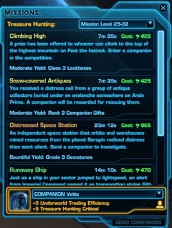 SWTOR Treasure Hunting missions