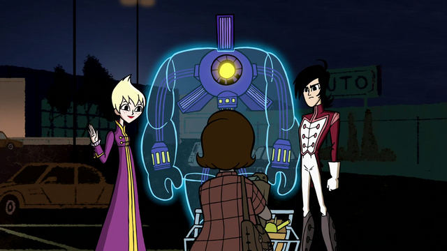 File:Ilana, Lance and Octus making first contact with a human civilian in Escape to Sherman High.png