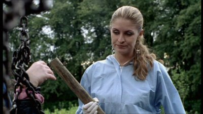Gemma with the first murder weapon in Mind Over Matter