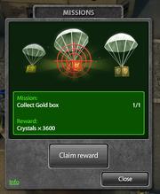 Daily Missions claim reward gold box 3600