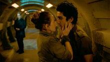 Cass kisses Lunn