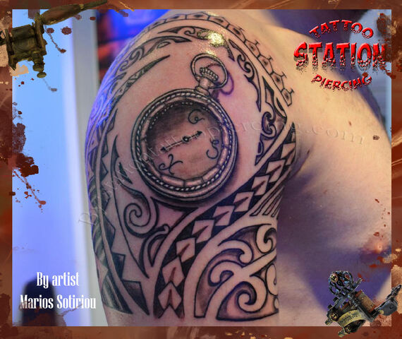 File:3d tattoo,polynesian, clock, vintage, watch, tattoo, station, studio,artist,cyprus, piercing, black and gray copy.JPG