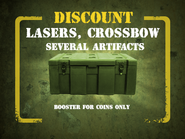 Lasers, Crossbow, Several Artifacts discount