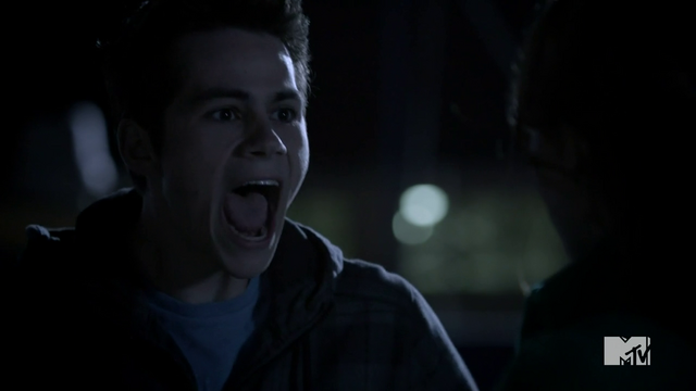 File:Teen Wolf Season 3 Episode 3 Fireflies Dylan O'Brien Stiles yelling at Lydia.png