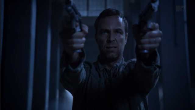 File:Teen Wolf Season 3 Episode 9 The Girl Who Knew Too Much JR Bourne Chris Argent tries to shoot The Darach.png