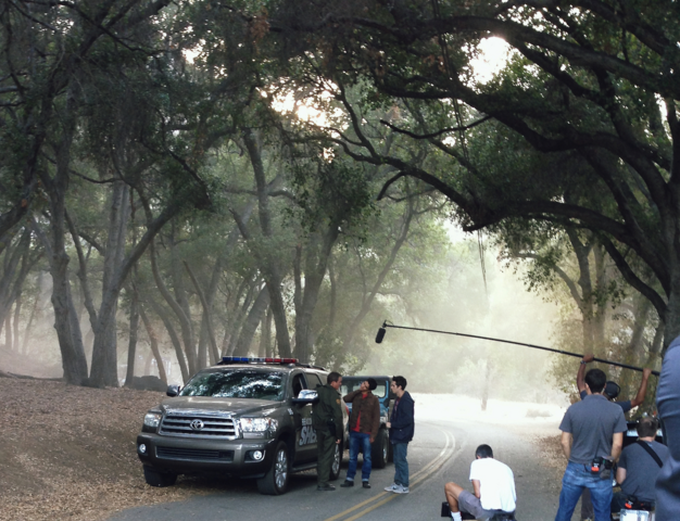 File:Teen Wolf Season 3 Behind the Scenes Linden Ashby Tyler Posey Dylan O'brien on location Tapia Park.png