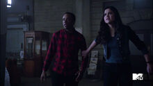 Khylin-Rhambo-Victoria-Moroles-Mason-and-Hayden-scared-Wild-Hunt-Teen-Wolf-Season-6-Episode-10-Riders-on-the-Storm