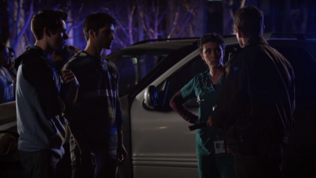 File:Teen Wolf Season 3 Episode 7 Currents Dylan O'Brien Tyler Posey Melissa Ponzio Linden Ashby Sheriff takes statement.png