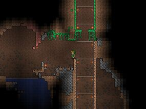 Terraria mining cave to hellevator