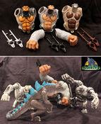 TRENDMASTERS Unreleased Animated Godzilla the Series Yeti Accessory Prototype Skins & Grappling Hooks with Battle Scene