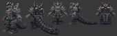 Official ROBOKOMODODON turnaround, mesh and alpha maps for the free Kaiju Combat release presenting Kaiju Land!