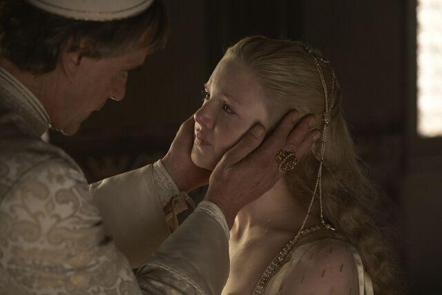 File:008 Lucrezia's Wedding episode still of Rodrigo Borgia and Lucrezia Borgia.jpg