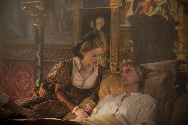 File:022 The Face of Death episode still of Lucrezia Borgia and Rodrigo Borgia.jpg
