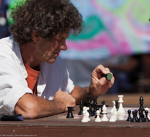 File:Male Chess Player contemplating a move, in the Centennial Park on the Embarcadero at Morro Bay Blvd., Morro Bay, CA..jpg