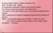 Golem creation