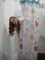Louisa in girls bathroom on HOA set