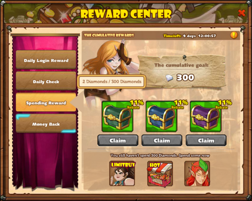 Reward Center with Lucky Loot Spending Reward 300 with Status