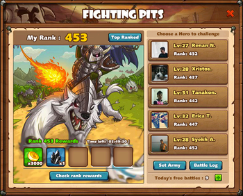 Fighting Pits Main Screen