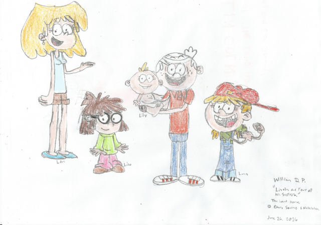 File:Lincoln Loud and Four of His Sisters.png