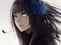 Tumblr static anime girl with black hair and blue eyes-1920x1080