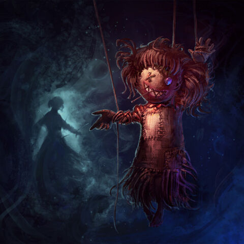 A severely mutated victim of the Wooden Girl, hung outside the walls of her castle with the Girl herself in the background