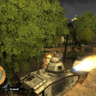 The Flammwagen firing it's flamethrowers.