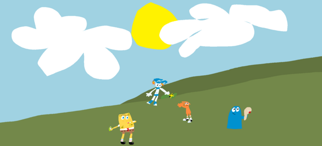 File:Spongebob, Jenny, Bloo, and Wander.png