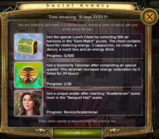 Social Events Challenge Window
