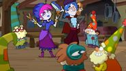 Hildy and Grim Gloom with the dwarfs