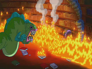 Puffy Fluffy Scaring Gary across the fire 2